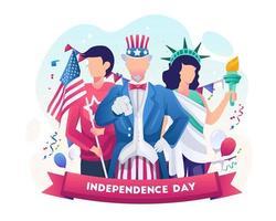 el tío sam y la mujer con traje de la libertad celebran el día de la independencia nacional el 4 de julio ilustración vector