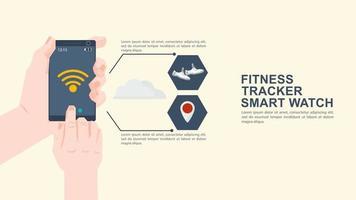 iconografía para diseño de estilo plano teléfono móvil en mano lanza aplicación de entrenamiento físico vector