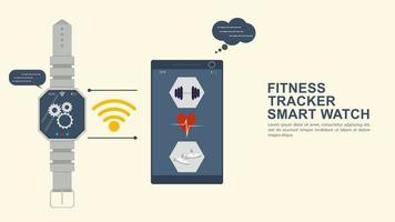 Iconography for flat design design watch fitness tracker syncs with your phone vector