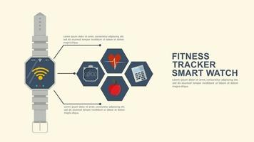 Iconography for flat design smart watch fitness tracker icons with the image of the functional equipment and a place to insert text vector