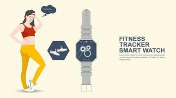 Iconography for flat design design girl in a tracksuit next to a fitness tracker clock vector