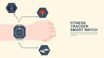 Iconography for flat design hand with wristwatch fitness tracker and icons with functionality vector