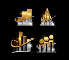 signo de barra de crecimiento dorado y plateado vector