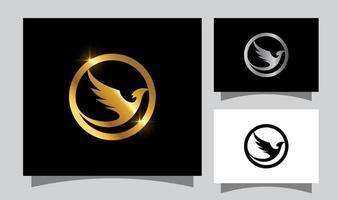 Golden Flying Bird Sign vector