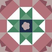 patrón de mosaico floral tradicional malayo vintage vector