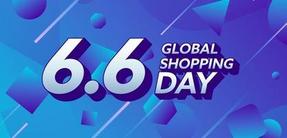 Flat design concept 6 6 global shopping day vector