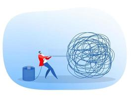 Businessman manages problem by pulling on large knotted string vector