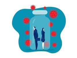 La mujer y el hombre de negocios en la botella de la vacuna se protegen del covid 19 o el concepto de coronavirus vector