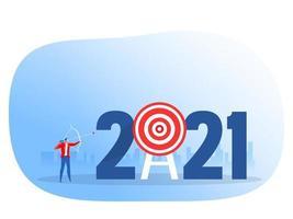 Businessman shooting archery 2021 target. Year achievement focus concept vector