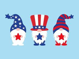 Independence Day or 4th of July Gnomes set vector