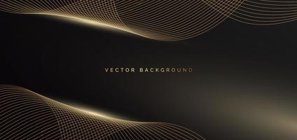 Abstract template shiny gold waves lines with light effect on black background Luxury concept vector