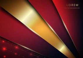 Abstract background red geometric overlapping layer with shadow with gold line luxury style vector