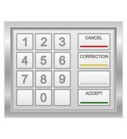 Ilustración de vector de valores de teclado de cajero automático aislado sobre fondo blanco