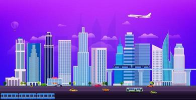 Evening cityscape with different city transport vector