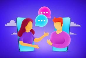 Young man and woman talking via smartphones vector