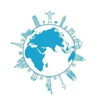 The Earth with world city sights vector