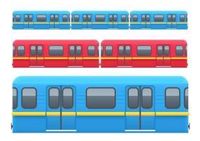Underground train wagons set isolated on white background vector