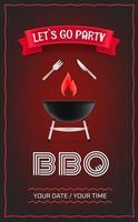 BBQ party poster design template vector