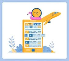 Schedule for purchasing flight tickets with travel agency apps. Can be used for landing pages, websites, posters, mobile apps vector