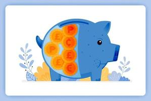 Blue piggy bank with foreign money saving and investing. Can be used for landing pages, websites, posters, mobile apps vector