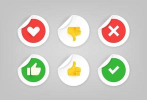 Paper stickers with agree and disagree signs vector