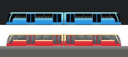Modern metro train wagons set vector