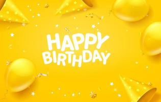 Happy birthday vector banner with confetti