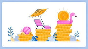 El crecimiento de la inversión del sector turístico, se beneficia de los viajes. se puede utilizar para páginas de destino, sitios web, carteles, aplicaciones móviles vector