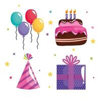 bundle of four party birthday celebration icons vector