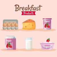 bundle of six delicious breakfast set products icons vector