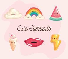 bundle of six kawaii stickers characters and lettering vector