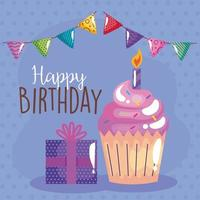 delicious cupcake birthday celebration with garlands and gift vector