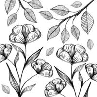 flowers and leafs plants nature ecology pattern vector