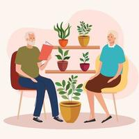 elderly old couple seated in the chair in the garden vector