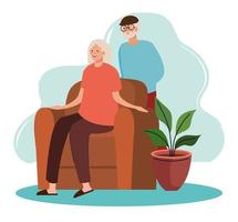 elderly old couple seated in the livingroom vector