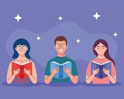 group of people reading text books characters vector