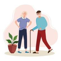 elderly old couple walking characters vector