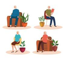 group of elderly old people seated in chairs and sofas characters vector
