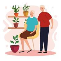 elderly old couple seated in the chair in the garden characters vector