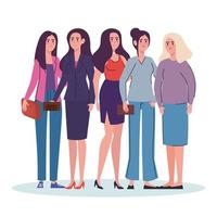 group of women standing avatars characters vector