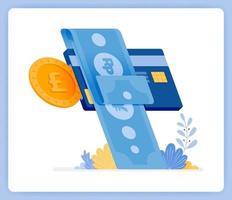pagos instantáneos mensuales de facturas de tarjetas de crédito préstamos financieros. se puede utilizar para páginas de destino, sitios web, carteles, aplicaciones móviles vector