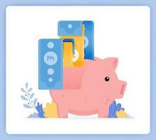 hucha rosa con billete de banco que se está emitiendo, ahorros de inversión abiertos. se puede utilizar para páginas de destino, sitios web, carteles, aplicaciones móviles vector