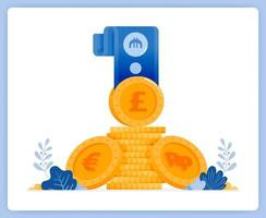 montones de moneda extranjera en forma de monedas de oro y billetes. se puede utilizar para páginas de destino, sitios web, carteles, aplicaciones móviles vector
