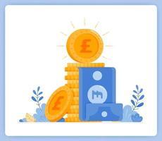 pila de monedas de una libra con el billete atascado en el medio, metáfora bancaria. se puede utilizar para páginas de destino, sitios web, carteles, aplicaciones móviles vector