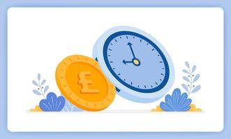 Time is money and can be exchanged for money, financial management. Can be used for landing pages, websites, posters, mobile apps vector