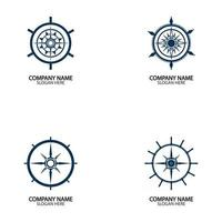 Ship steering wheel and conpass rose navigation vector