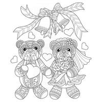 Married couple hand drawn for adult coloring book vector