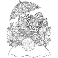 Bear and flower hand drawn for adult coloring book vector