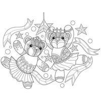osos de peluche dibujados a mano para libro de colorear para adultos vector