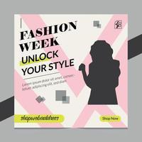 fashion week flyer design vector